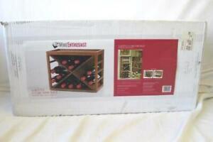 Wine Enthusiast 12 Bottle X Cube Wine Rack Walnut-Stained Mahogany Wood