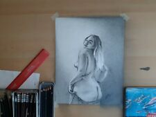 Original 11x14 Pencil drawing Of Nude Mexican Woman Done By Artist ARTuro