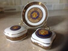 Vtg Small decorative plate and two trinket boxes Porcelain/China made in Italy