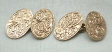 Edwardian Lovely Pair Of 9 Carat Rose Gold Engraved Cufflinks