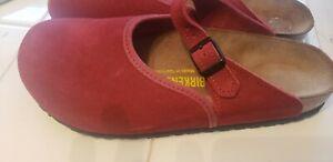 Birkenstock Rosemead Mary Jane Clogs Comfort Red Slip On Suede Size-39  8-8.5