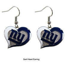 NWT Aminco NFL New York Giants Swirl Heart Shaped Earring Dangle Charm