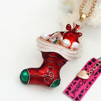 Betsey Johnson Red Enamel Christmas Sock Pendant Sweater Chain Necklace Gift