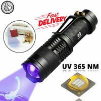 395 / 365 nM UV Ultra Violet LED Flashlight Blacklight Inspection Lamp Torch Hot