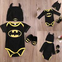 3Pcs Newborn Baby Batman Outfits Jumpsuit Clothes Romper + Shoes + Hat Costume