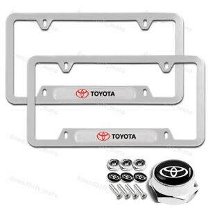 For 2PC TOYOTA Silver Stainless Steel Metal License Plate Frame New w/ Screw Set