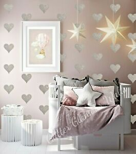 Glitter wall stickers decals chunky glitter hearts 18s