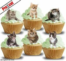 PRE-CUT CUTE KITTENS EDIBLE WAFER PAPER CUP CAKE TOPPERS BIRTHDAY DECORATIONS