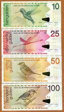 SET Netherlands Antilles 10-25-50-100 Gulden, 2016 P-28h-29i-30h-31h UNC > Birds