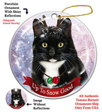 Tuxedo Cat Christmas Holiday Ornament Up To Snow Good