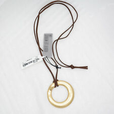 Robert Lee Morris Soho vintage antqieumatte gold plated pendant leather necklace