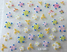 Nail art Stickers bijoux d'ongles autocollants mode: Fleurs - Multicolores