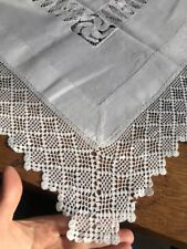 VINTAGE WHITE TABLE CLOTH CROCHET EDGES  AND INSET PANELS 95 X 95cm