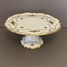 "Reichenbach Porcelain 12"" W Pedestal Cake Stand Gold Flowers & Swirls - Germany"