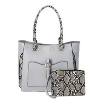 Gray Faux Leather Snake Skin Print Tote Bag Fashion Handbag Tote Bag for Women