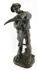 "Antike Bronze Skulptur "" Hans Müller "" Bauer schärft Sense 39 cm 1873 -1937"