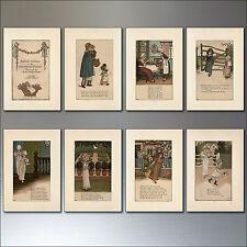 8 VINTAGE NURSERY RHYME Ilustración Retro Imanes de Nevera