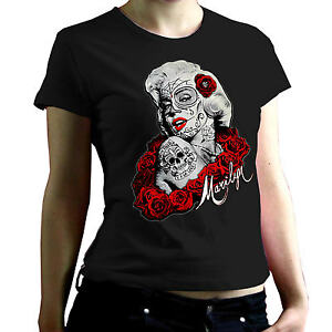 Rockabilly Marilyn Pinup Tatouage Flash Punk Jupe Femmes Fille T-Shirt 2090