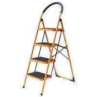 4 Step Ladder Folding Steel Step Stool Anti-slip 330Lbs Capacity Black & Yellow
