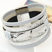 Fashion Alloy Wide Leather Bracelets Bangles Multilayer Bracelets Jewelry Gift