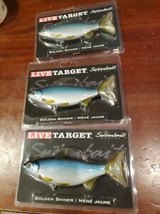 "Lot of 3 Live Target Golden Shiner 5.5"" Swimbaits Fishing Lures Silver Blue bait"