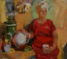 Russian Ukrainian Oil Painting Fauvism Portrait woman lady samovar teapot