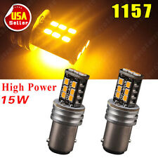 2 PCS High Power 1157 2835 15W Amber Yellow BAY15D 1157A Tail Brake LED Light
