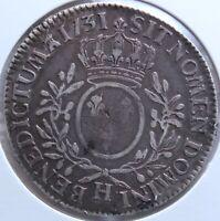 LOUIS XV ECU AUX BRANCHES D'OLIVIER 1731 H