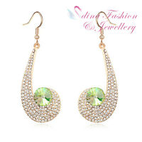 18K Yellow Gold Plated Made With Swarovski Crystal Large Snail Dangle Earrings