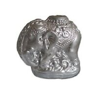 Silver Painted Terracotta Elephant Incense Holder (L92)