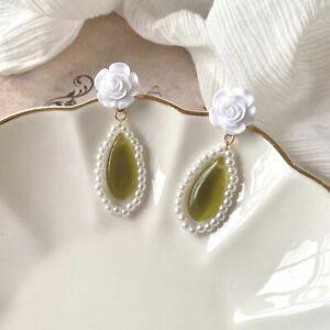French Girls Pearl Rose Earrings Dangle Earrings Women Gift Fashion Jewelry
