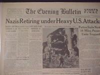 VINTAGE NEWSPAPER HEADLINE~WORLD WAR 2 ATTACK GERMAN NAZI ARMY RETREAT WWII 1944