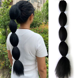 "22"" Long Bubble Ponytail Synthetic Puff Drawstring Hair Extension As Human Hair"