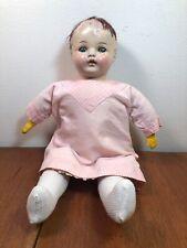 Antique Bisque Shoulder / Head & Hands Cloth Body Vtg 15� Doll