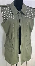 Women's Sleeveless Military Theme Jacket With Riveted Starts Size M In Green