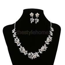 Wedding Party Bridal Floral Leaf Necklace Earring Jewelry Set Silver