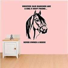 Girls Or Ladies Bedroom Wall Sticker Horse Quote Lounge Horse Sticker Wall Decal