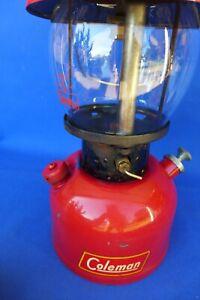 Vintage April 1953 Coleman 200A Single Mantle Red Lantern Black Band - Works!