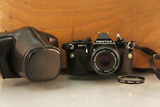 PENTAX Mv1 Black Body with SMC Pentax-M 50mm F/2 & Leather Case + Filter! Bundle