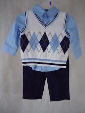 George Baby Toddler Boy Dressy Vest Set (3 Piece Set) 100% Cotton-Size 12 Months