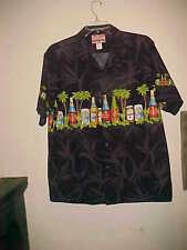 VINTAGE RJC SHORT SLEEVE COTTON SHIRT BLACK WITH BEER PICTURES MADE IN HAWAII XL