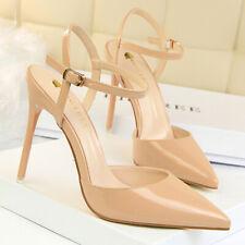 Women Sandals Pointed Toe Slip On Straps Stilettos High Heel Summer Pumps Shoes