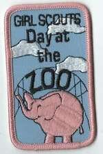 Girl Scouts Embroidered Badge Fun Patch Badge~Day at the Zoo Pink Elephant