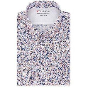 Calvin Klein Men's Extreme Slim Fit Printed Dress Shirt, White, Size S, $80, NwT