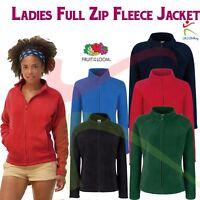 Ladies Fruit Of The Loom Full Zip Fleece Jacket Casual Work Wear Designer Coat