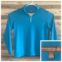 Peter Millar Crown Sport 1/4 Zip Pullover Teal Golf Lightweight Mens Size Large