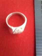 sterling silver unusual shape ring with embedded cubic zirconia stones size S
