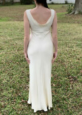 100% SILK white J.CREW gown wedding sleeveless Goddess beach art deco 6 summer