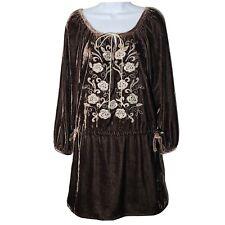 Rancho Estancia XL Tunic Dress Brown Velvet Embroidered Bohemian Peasant