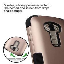 For LG K10 / L62VL (Premier LTE) ROSE GOLD BLACK TUFF ACCESSORY SKIN CASE COVER
